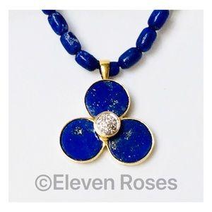 14k & 18k Gold Lapis Diamond Pendant Bead Necklace